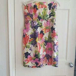 J. Crew Strapless Floral A Line Silk Dress